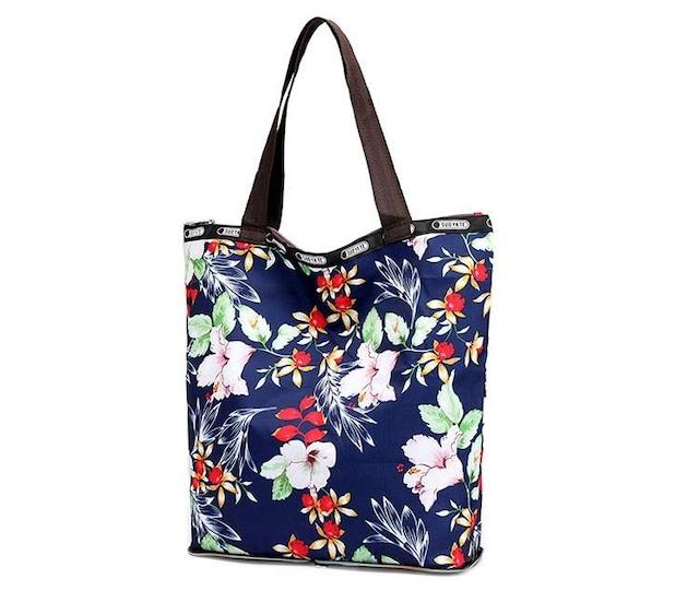 1円新品大容量フラワー花柄ナイロン生地トートバッグ折畳みOKレディース  < 女性ファッションの