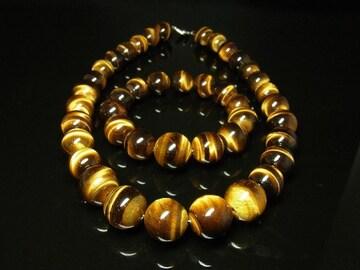 タイガーアイブレスレット&ネックレスセット 虎目石数珠パワーストーン オラオラ系