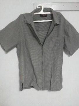 Fー135★メンズ半袖ジップシャツ グリーン L