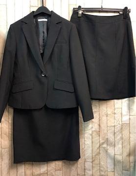 新品☆11号お仕事にも!スカート2種付きスーツ黒無地洗える☆b875