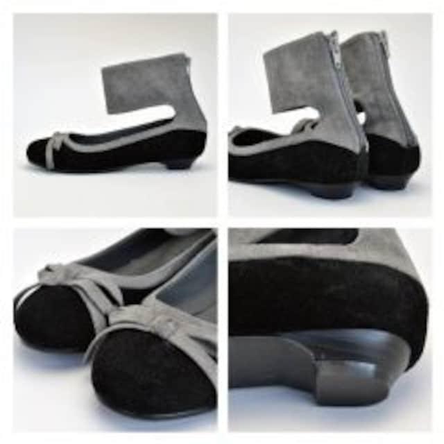 新品<REGOLITH>バックジップアンクルバレエシューズ合成皮革(ブラックSS)reg117 < 女性ファッションの