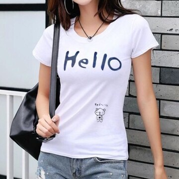 【Hello】 レディース プリント Tシャツ クルーネック 白Tシャツ