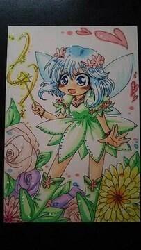 自作イラスト オリジナル お花の妖精ちゃん 同人 手描きイラスト