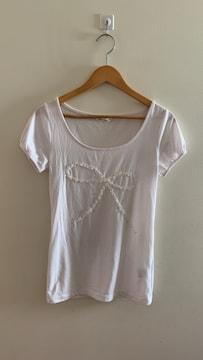 ナチュラルビューティーベーシック レースリボン半袖Tシャツ M