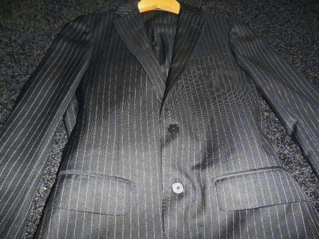 □EDIFICE/エディフィス ストライプ スーツ/メンズ/44/黒☆細身 < ブランドの