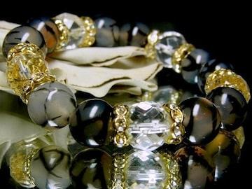 64面カット水晶黒龍紋ドラゴンアゲート12ミリ金ロンデル数珠