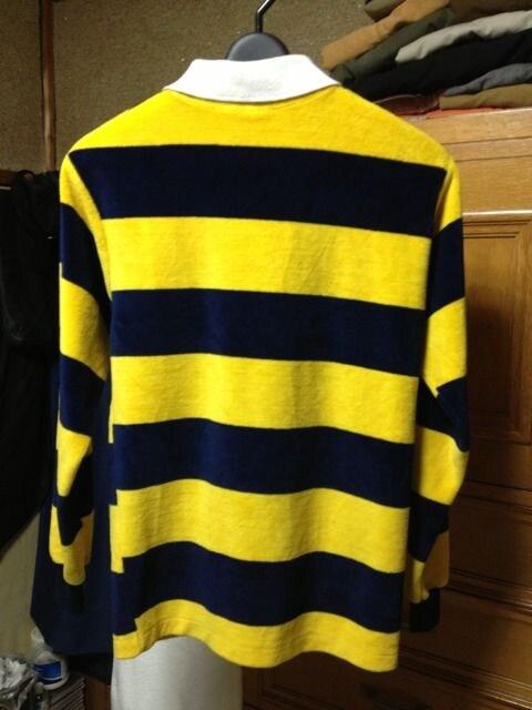 古着 ベロア ラガーシャツ 長袖ニット Sサイズ ボーダー柄 黄×紺 フリース アメリカ製 < 男性ファッションの