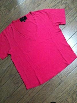美品SHIPS シルク混VネックTシャツ 日本製 シップス