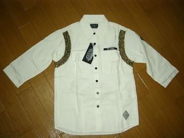 新品クライミーCRIMIEレオパード7分丈シャツS白ヒョウ柄豹