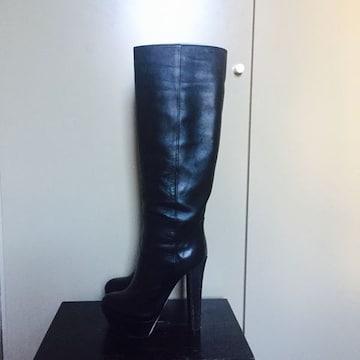 セルジオロッシ16万美品 レザーロングブーツ ブラックハイヒール