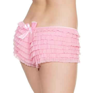 フリル&バックリボン付き キュートなフリフリショーツ ピンク