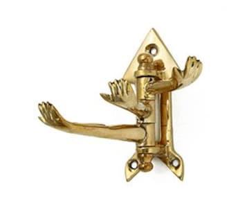 3wayフック ゴールド真鍮ブラス製★アンティークインテリア 玄関 掛け