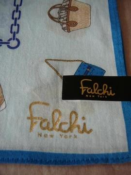 falchi New York ファルチ ニューヨーク水色bag柄ハンカチ