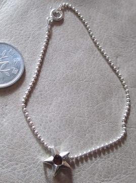Silver925  ガーネット、星チャーム,ブレスレット18cm   B10