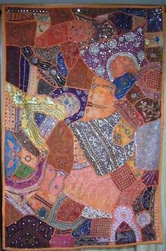 ラジャスタン*ビーズ刺繍布・ウォールハンギング 147.5x100�a