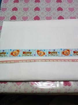 23mm巾 ダッフィー(水色:ロゴ&フェイス)柄リボン1M