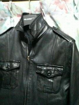 シェラックshellacレザーシャツブルゾンジャケット44黒