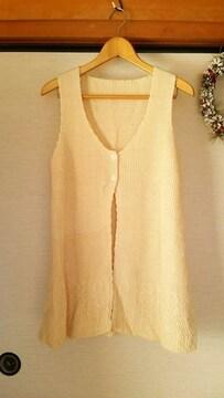 新品★ink クリ−ム色 飾り縫いAラインベストM〜L