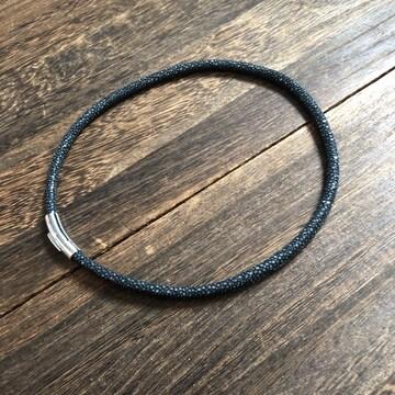 限定品|スティングレイ エイ革 ネックレス チョーカー 黒 0.6