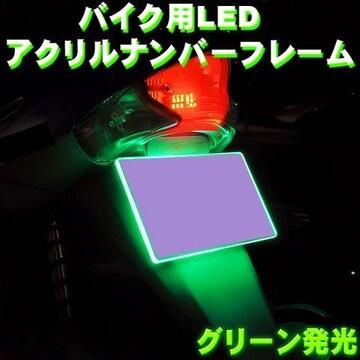 バイク用12連LEDアクリルナンバープレート/グリーン緑
