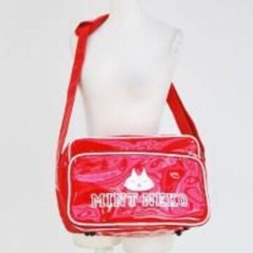 MINTNeko・カレッジ風ロゴプリントエナメルスクールバッグ*赤