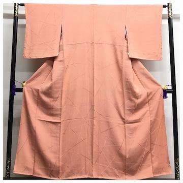 上質 正絹 美品 色無地 一つ紋入り 袷 サーモンオレンジ 中古