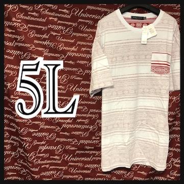 5L・エスニックボーダー裏地Tシャツ新品/MCAa-906