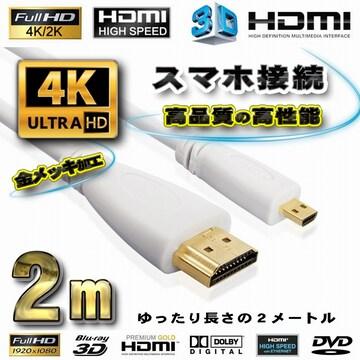 スマホ接続 HDMI - Micro HDMI 変換 HDMI白ケーブル 2m