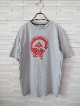 即決/LRG/ロゴプリント半袖丸首Tシャツ/グレー/M