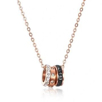 18Kピンクゴールド鍍金CZダイヤブラッククリスタルリングネック