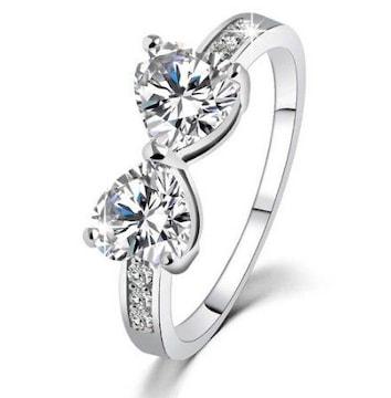 送料込:ハート型2個の蝶(バタフライ)シルバーリング 指輪