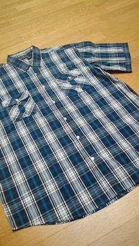 ROCAWEARデザインチェック 半袖シャツ 紺ネイビー サイズXXXXL→3XL位 �A