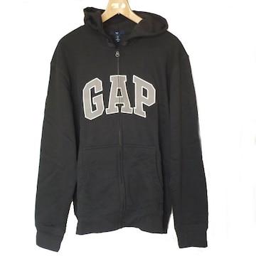 新品L★GAP 黒ロゴフルジップパーカーギャップ ブラック