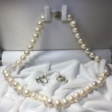新品 本物真珠 ネックレス&イヤリング セット