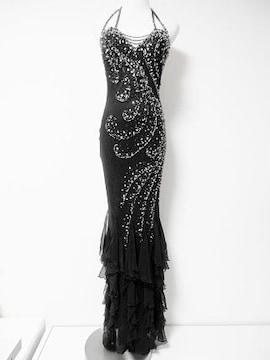 EauSouage黒ビーズビジューシルクマーメイドロングドレス