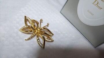 正規未 Diorディオール ヴィンテージ バタフライストーン装飾ブローチ ゴールド×石 蝶