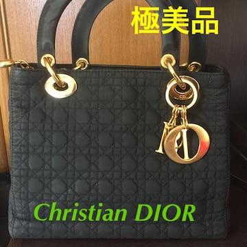 極美品☆Christian Dior レディオール チャーム付★ハンドバッグ