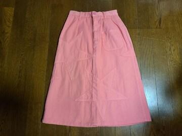 送料無料/ヒステリックグラマー ピンク星柄デニムロングスカートSサイズ