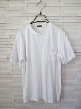Mc COLBY/アジアンプリント半袖メンズポケット丸首Tシャツ/白/L