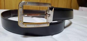 正規 カルティエ サントス クラシックバックル リバーシブルレザーベルト黒×茶 95 調節可
