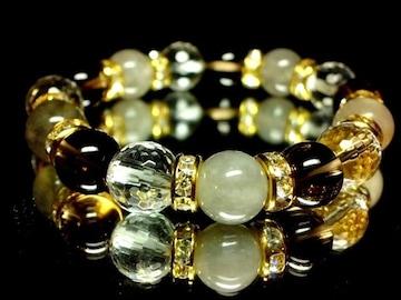 クラウディークォーツ§スモーキークォーツ§128面カット水晶10ミリ金ロンデル数珠