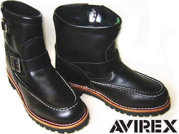 AVIREXアビレックス新品ショート エンジニア ブーツ2535黒us7