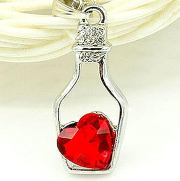 新品1円〜★送料無料★ ダイヤモンド ブラッドルビーハート 小瓶シルバーネックレス