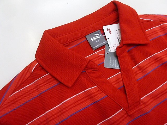 XL赤)プーマ★半袖ポロシャツ583213オープンカラー鹿の子 レギュラ-FIT < 男性ファッションの