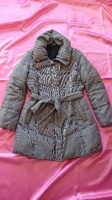 ★千鳥格子お洒落ふかふか軽くて暖か中綿ダウンジャケットコート  < 女性ファッションの