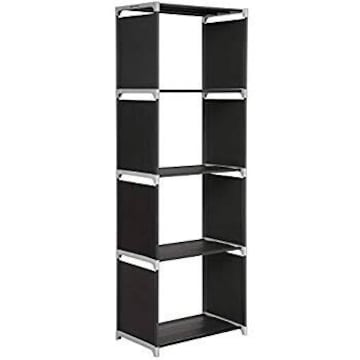 SONGMICS 本棚 4段 書架 カラーボックス スリム 軽量 スチール