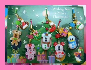 TDRディズニーリゾート限定ミッキーミニークリスマススノーマンジンジャーマンストラップセット