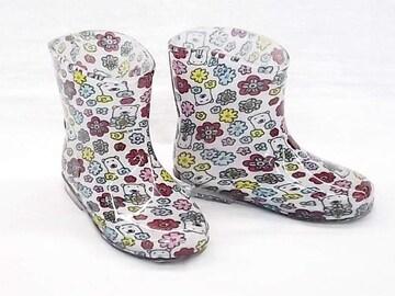 モンフレール レインブーツ 7008 15.0cm 花クマ 可愛い 長靴