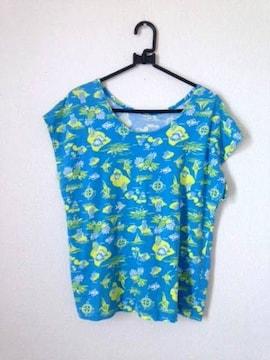 チチカカ■素材感◎ トロピカルプリント ブルー Tシャツ M