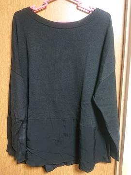INDIVI昨季美品黒異素材バックボタンニットセーター大きいサイズ4213号15号